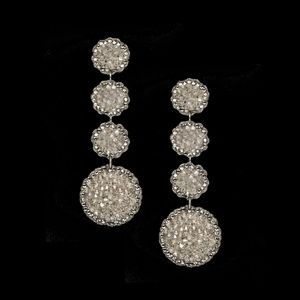 Roni Blanshay Crystal Rock Drop Disc Earrings